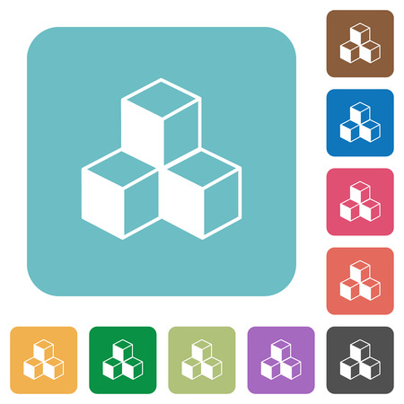 Cubes white flat icons on color rounded square backgrounds