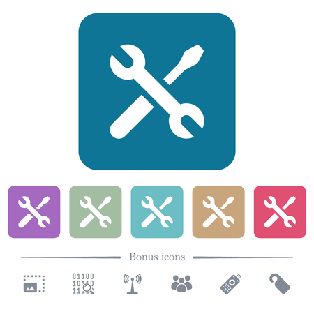 Maintenance white flat icons on color rounded square backgrounds. 6 bonus icons included