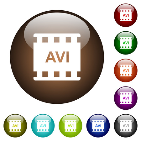 AVI movie format white icons on round color glass buttons
