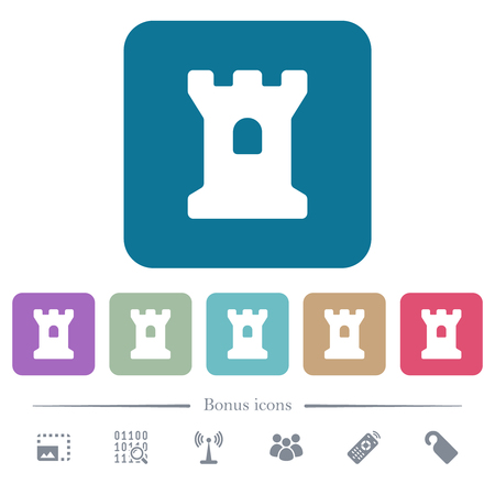 Bastion white flat icons on color rounded square backgrounds. 6 bonus icons included