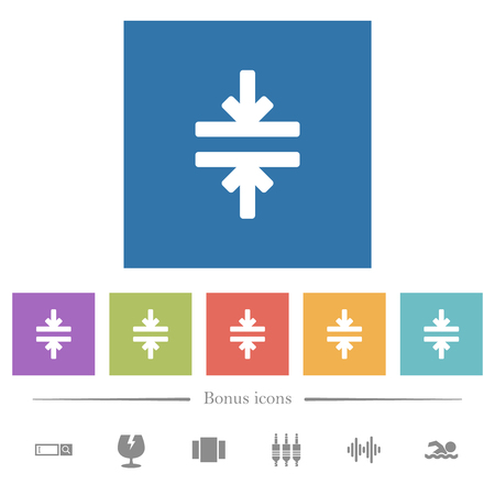 Horizontal merge tool flat white icons in square backgrounds. 6 bonus icons included.