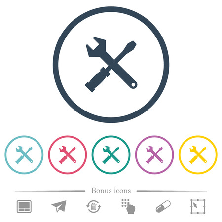 Tool kit flat color icons in round outlines. 6 bonus icons included.