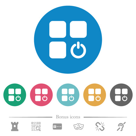 Component switch flat white icons on round color backgrounds. 6 bonus icons included.