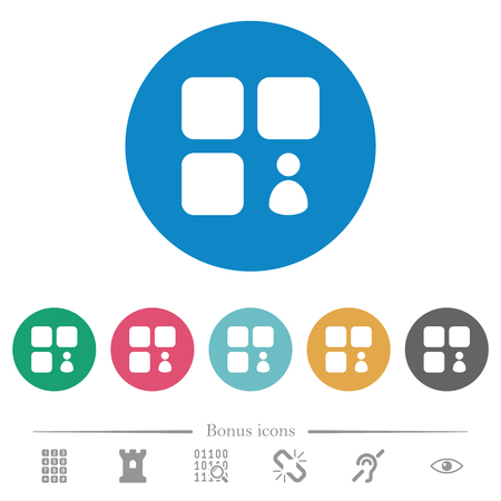 Component owner flat white icons on round color backgrounds. 6 bonus icons included.