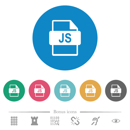 JS file format flat white icons on round color backgrounds. 6 bonus icons included.