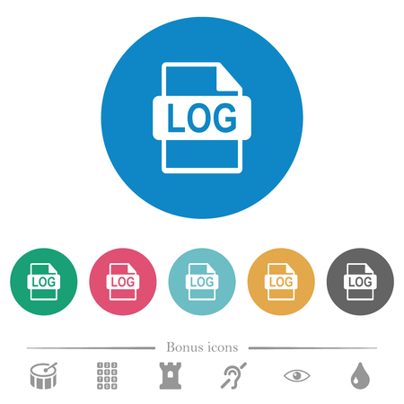 LOG file format flat white icons on round color backgrounds. 6 bonus icons included.