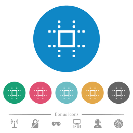 Snap to grid flat white icons on round color backgrounds. 6 bonus icons included.