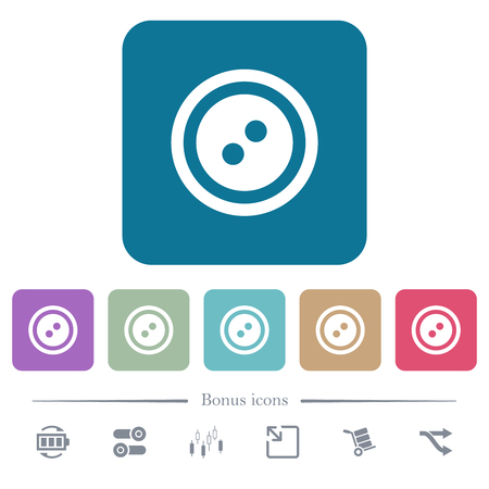 Dress button with 2 holes white flat icons on color rounded square backgrounds. 6 bonus icons included