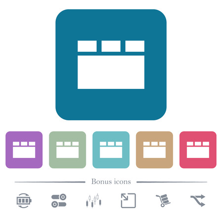 Horizontal tabbed layout white flat icons on color rounded square backgrounds. 6 bonus icons included