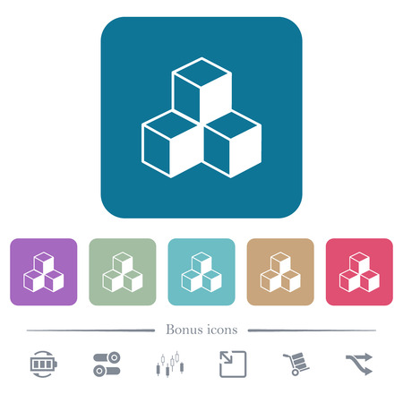 Cubes white flat icons on color rounded square backgrounds. 6 bonus icons included
