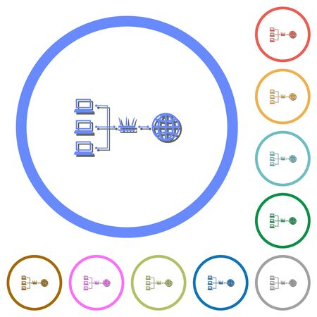 Network address translation flat color vector icons with shadows in round outlines on white background