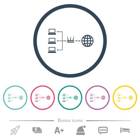 Network address translation flat color icons in round outlines. 6 bonus icons included.