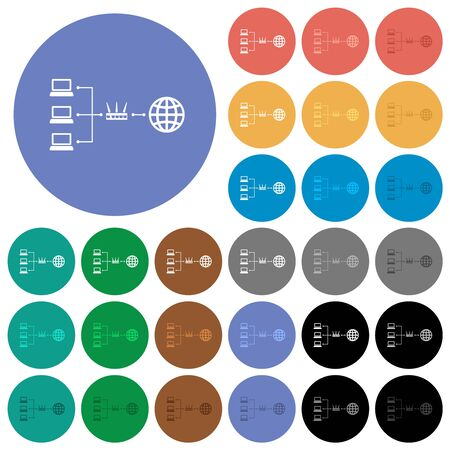 Network address translation multi colored flat icons on round backgrounds. Included white, light and dark icon variations for hover and active status effects, and bonus shades.
