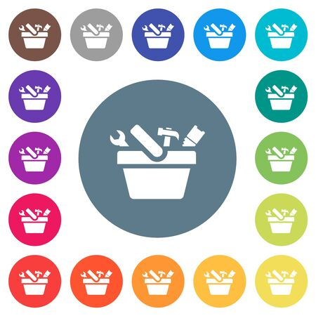 Toolbox flat white icons on round color backgrounds. 17 background color variations are included.