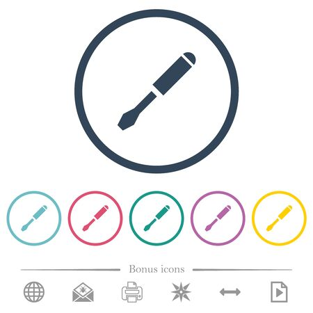 Single screwdriver flat color icons in round outlines. 6 bonus icons included.
