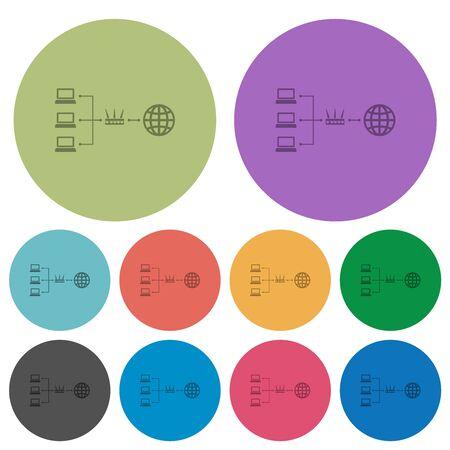 Network address translation darker flat icons on color round background