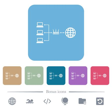 Network address translation white flat icons on color rounded square backgrounds. 6 bonus icons included