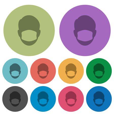 Illustration pour Face with medical mask darker flat icons on color round background - image libre de droit