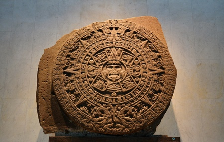 An Ancient Aztec Calendar Stone In the Anthropological Museum in Mexico City