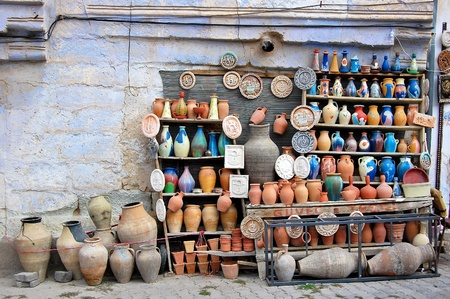 Traditional clay pottery for sale in Goreme, Turkey