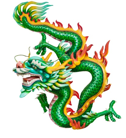 Green dragon isolated on white background