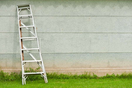 Ladder against wall with grass