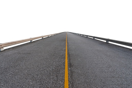 Photo for Asphalt road on white with path - Royalty Free Image