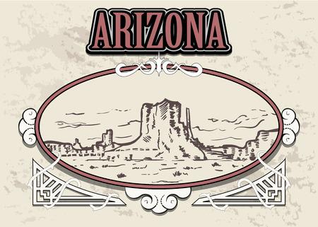 Illustration pour Arizona skyline, USA, in a decorative vintage frame, retro hand drawn Arizona landescape. - image libre de droit
