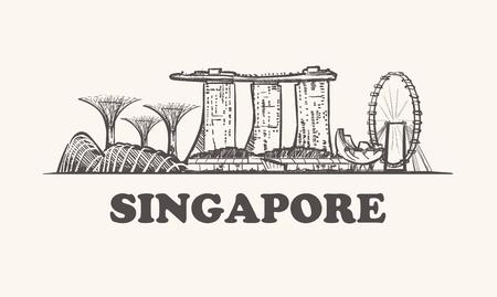 Ilustración de Singapore skyline, vintage vector illustration, hand drawn. - Imagen libre de derechos