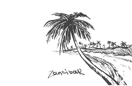 Illustration pour Zanzibar island hand drawn.Zanzibar sketch vector illustration.Beach with palm trees. - image libre de droit