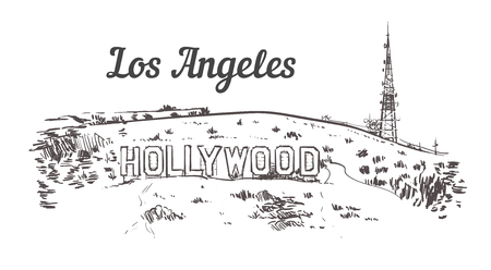 Illustration pour Mount Hollywood sketch. Los Angeles hand drawn vintage vector illustration. Isolated on white background. - image libre de droit