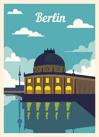 Retro poster Berlin city skyline. vintage, Berlin vector illustration.