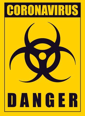 Illustration pour A yellow warning poster about the coronavirus. Coronavirus vector illustration. - image libre de droit
