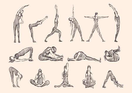 Illustration pour Yoga gymnastics fitness poses Exercises , vipassana vector - image libre de droit