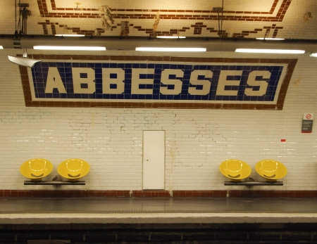 Empty Benches at Abbesses Paris Metro Station