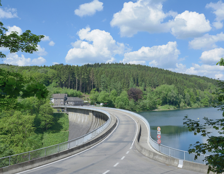 Dam of Agger Reservoir,Bergisches Land,Germany