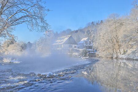 Wintertime at River Wupper near Solingen and Wuppertal,Bergisches Land,Germany
