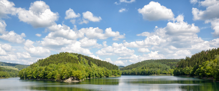 panoramic view of Agger Reservoir in Bergisches Land,North Rhine westphalia,Germany
