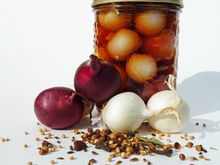 Jar with onions and spices
