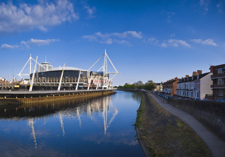 River Taff meandering past the Millennium sports stadium in Cardiff.