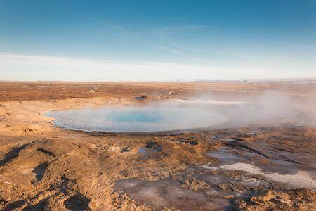 Iceland geyser hot thermal pot landscape geothermal pool