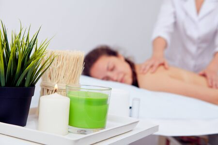 Young woman in Spa massage salon. Relax