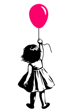 Illustration pour Vector hand drawn black and white silhouette illustration of a toddler girl standing with pink red balloon in hand, back view. Urban street art style graffiti stencil art design element. - image libre de droit