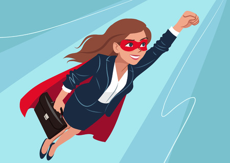 Illustration for Young Caucasian superhero woman wearing business suit and cape, flying through air in superhero pose, on aqua background. Vector cartoon character illustration, business, achievement, goals theme. - Royalty Free Image