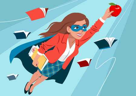 Illustration pour Young woman in cape and mask flying through air in superhero pose, looking confident and happy, holding an apple and folder with papers, open books around. Teacher, student, education learning concept - image libre de droit