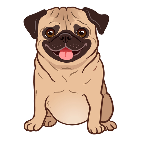 Ilustración de Pug dog cartoon illustration. Cute friendly fat chubby fawn sitting pug puppy, smiling with tongue out. Pets, dog lovers, animal themed design element isolated on white. - Imagen libre de derechos