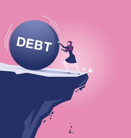 Vektor für Businesswoman fighting debt iron ball, almost falling off - Business concept vector - Lizenzfreies Bild