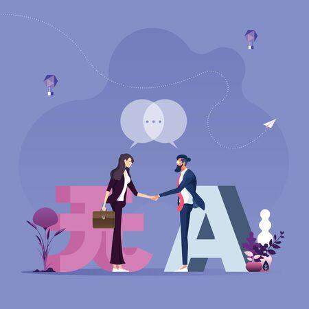 Illustration pour Communication in different languages-Worldwide business concept  - image libre de droit