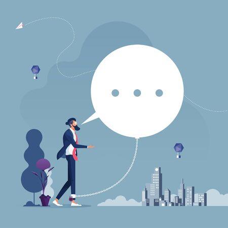 Illustration pour Businessman chained and shackled to a big speech bubble-Business commitment concept - image libre de droit