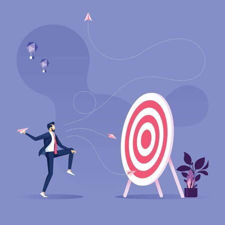 Illustration for Business objective and strategy vector concept-Businessman throwing paper plane to target - Royalty Free Image